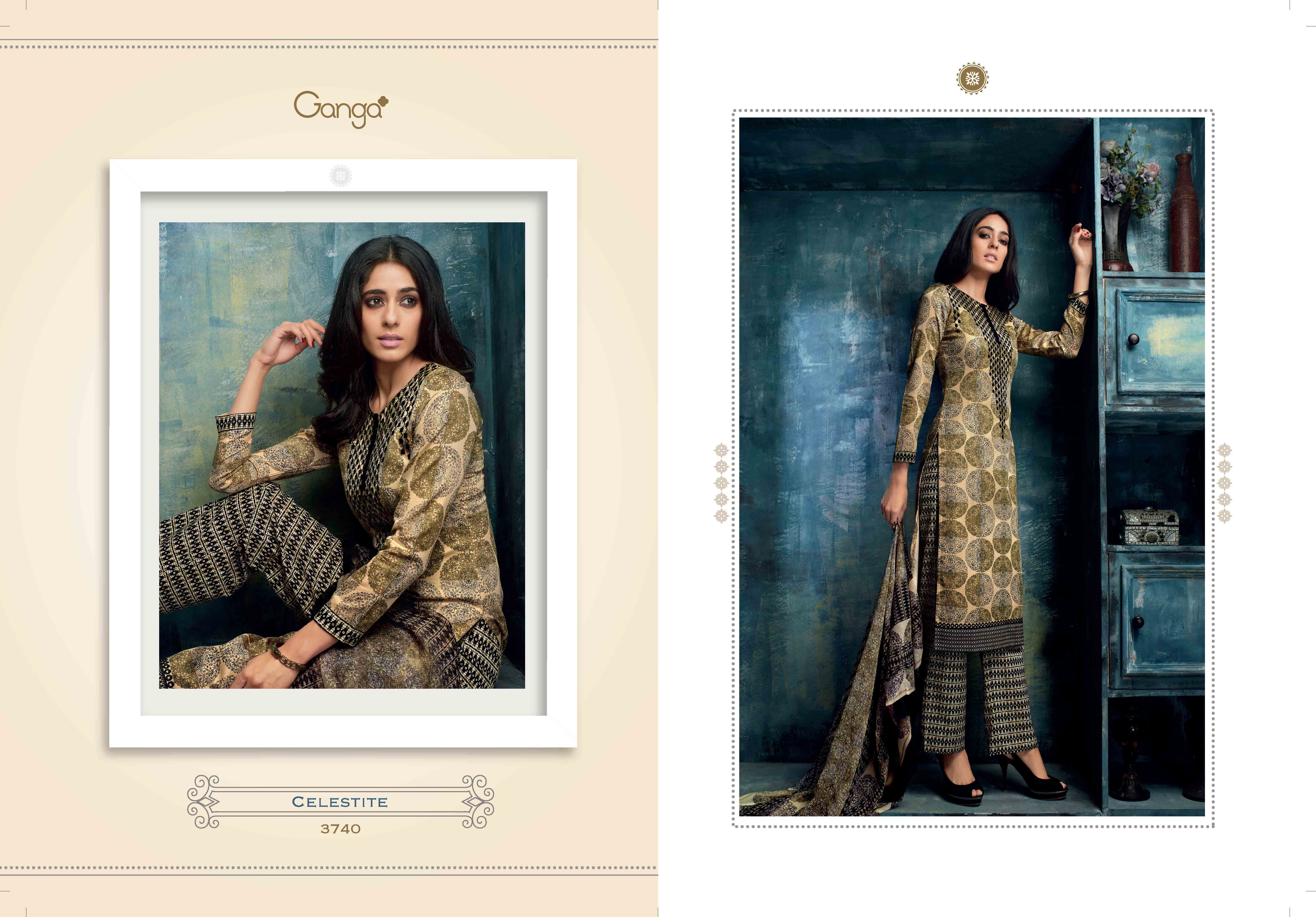 491c2e145a Ganga Celesitie Design No.3747-3748 Salwar Suit Long Pakistantani Style 100%  Pure Cotton Printed Top With Embroidery Work Neck And Pure Bemberg Chiffon  ...
