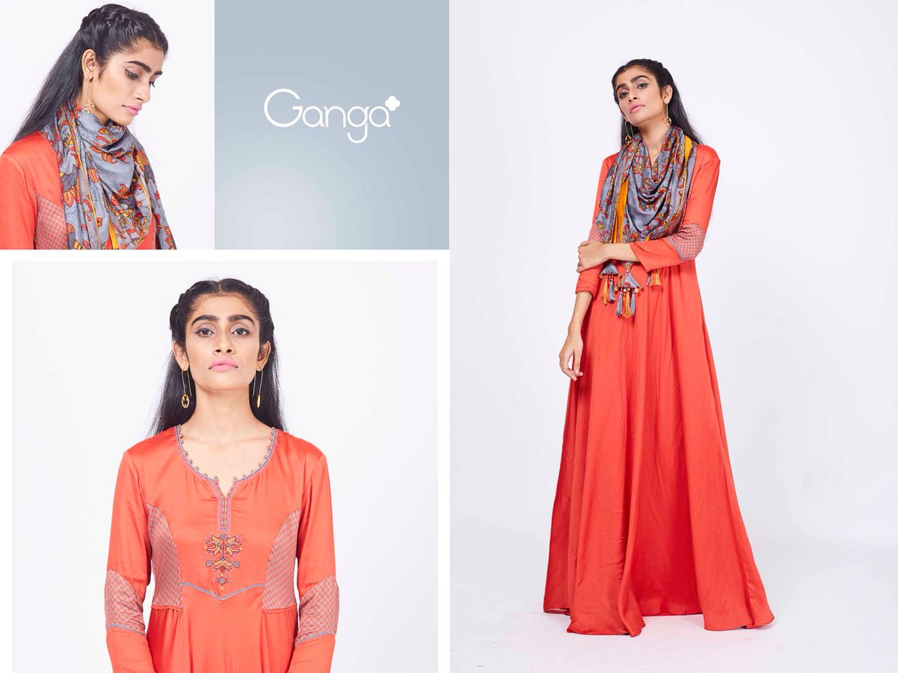 424702e8e2 GANGA READYMADE FASHIONABLE NATURAL SILK BEAUTIFUL EMBROIDERED DESIGNER  LONG GOWN WITH FANCY SCARF IN WHOLESALE