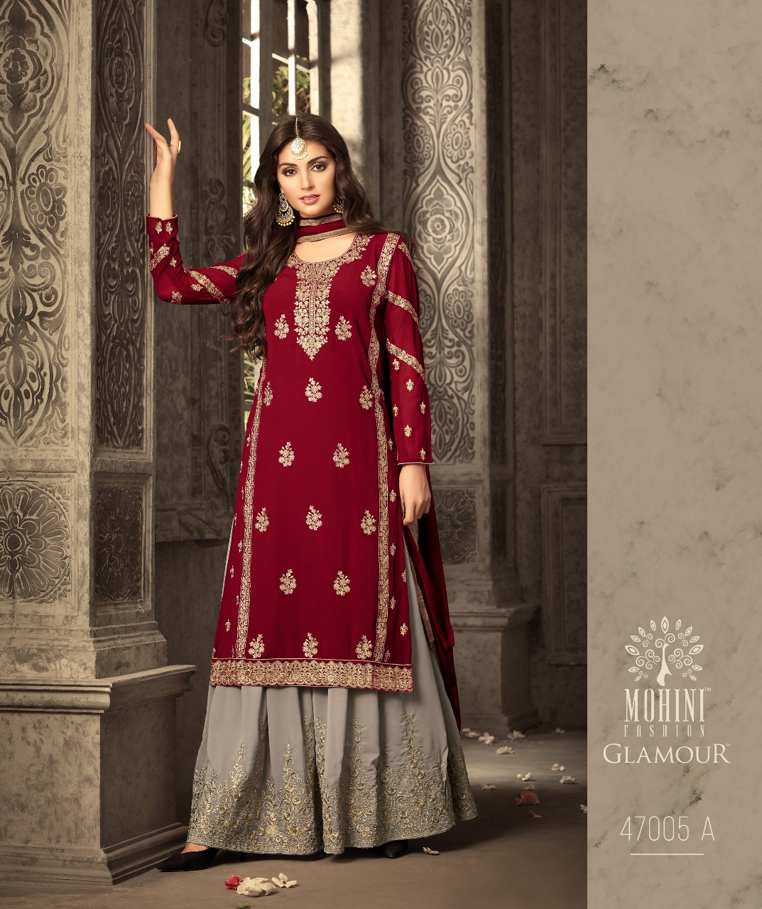 815bae235b GLAMOUR HEAVY BUTI EMBROIDERED WITH FANCY EMBROIDERED LACE PATTERN SLEEVES  TOP WITH DESIGNER EMBROIDERED BOTTOM SHARARA AND LACE BORDERED DUPATTA  WHOLESALE ...